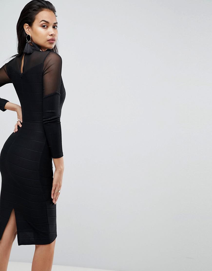 1b74b45a6b Lyst - ASOS Asos Long Sleeve Deep Plunge Bandage Mesh Midi Dress in Black