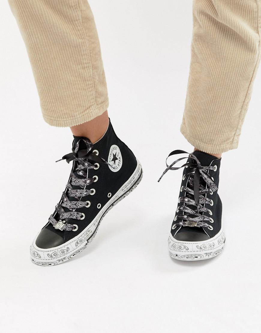 X Miley Cyrus Chuck Taylor All Star Low Trainers In White And Black Bandana Print - White Converse vMeeidW8x7