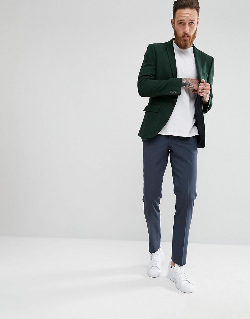 6b4d43fc76695c ASOS Asos Wedding Skinny Suit Jacket In Forest Green Herringbone in ...