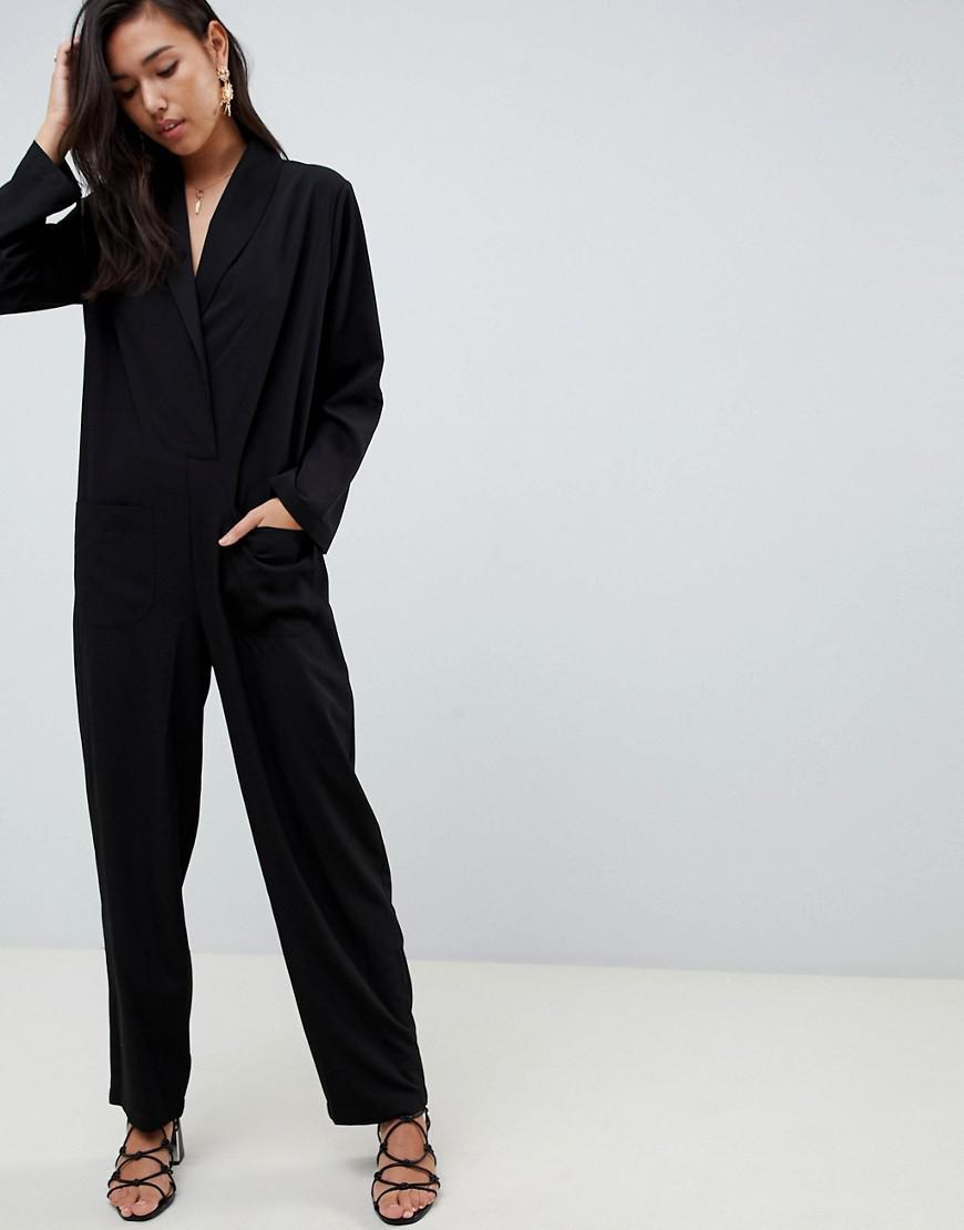 af81decf069 Lyst - ASOS Minimal Boiler Jumpsuit With Pockets in Black