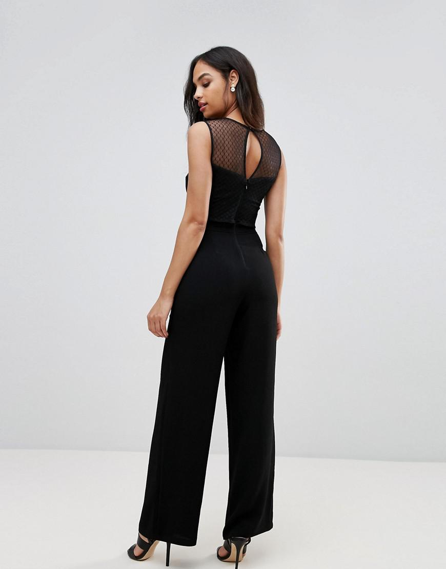 c1f1aea3a0 Lyst - Lipsy Lace Detail Jumpsuit in Black