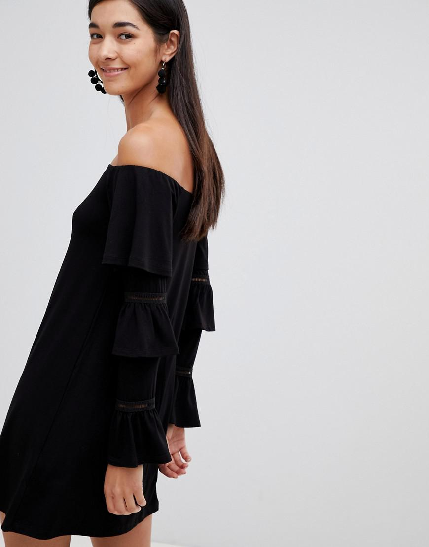 9726e4f00f79 ASOS Asos Design Tall Off Shoulder Mini Dress With Frill Sleeve Detail in  Black - Lyst