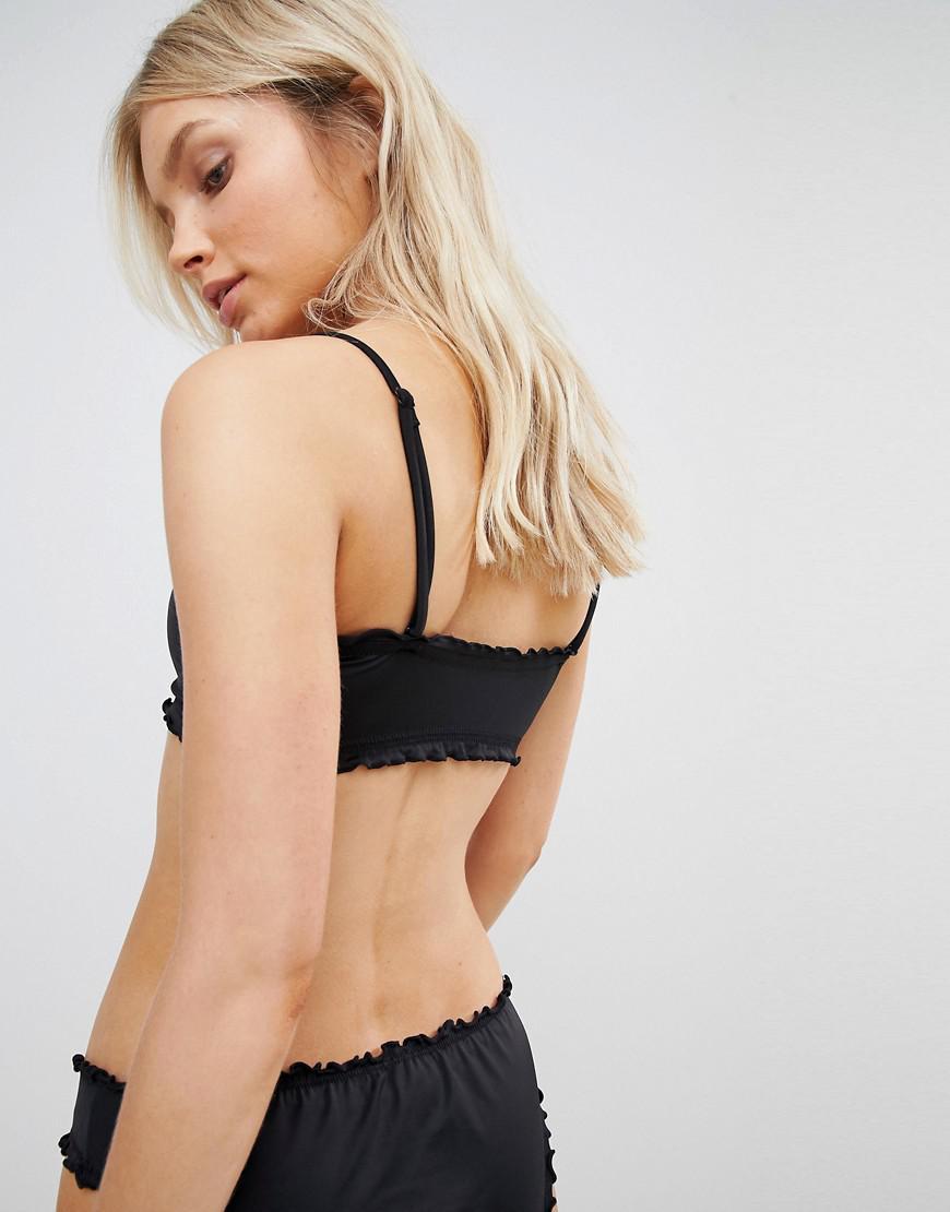 82a852b4449845 Weekday Ruffle Detachable Strap Bandeau Bikini Top in Black - Lyst