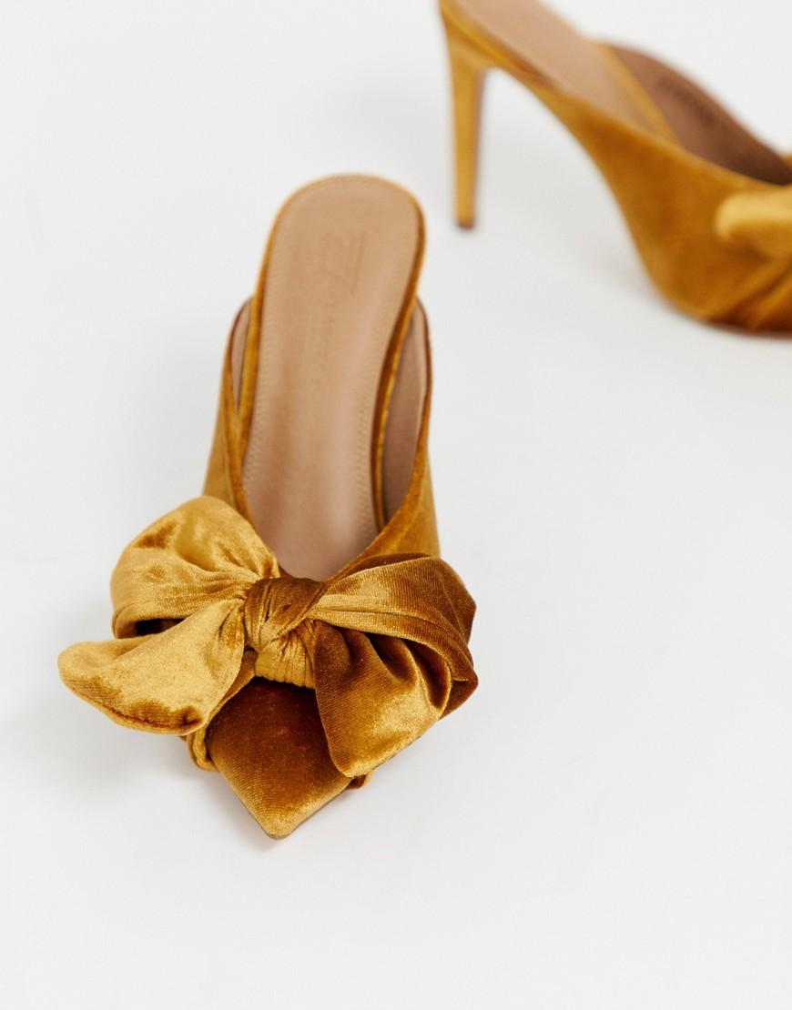 35b39593c ASOS Poppy Pointed High Heel Mules With Bow in Yellow - Lyst