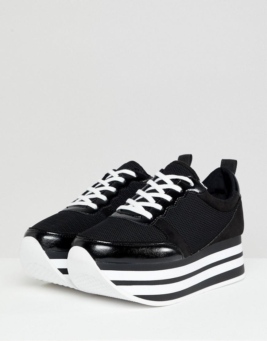 c4f7ab307c96 Lyst - Bershka Flatform Eva Sneaker In Black in Black