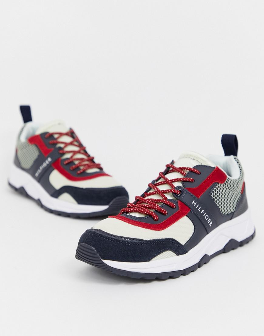 88df957f Tommy Hilfiger. Men's Material Mix Lightweight Icon Colourblock Trainer In  ...