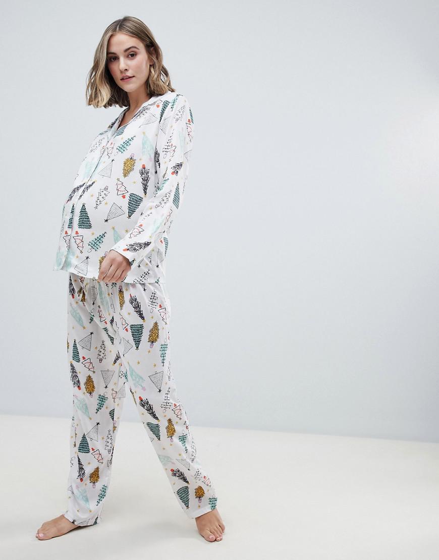 ASOS. Women s White Asos Design Maternity Christmas Tree Traditional Shirt  And Pants Pyjama Set In 100% Modal 70172a3dd