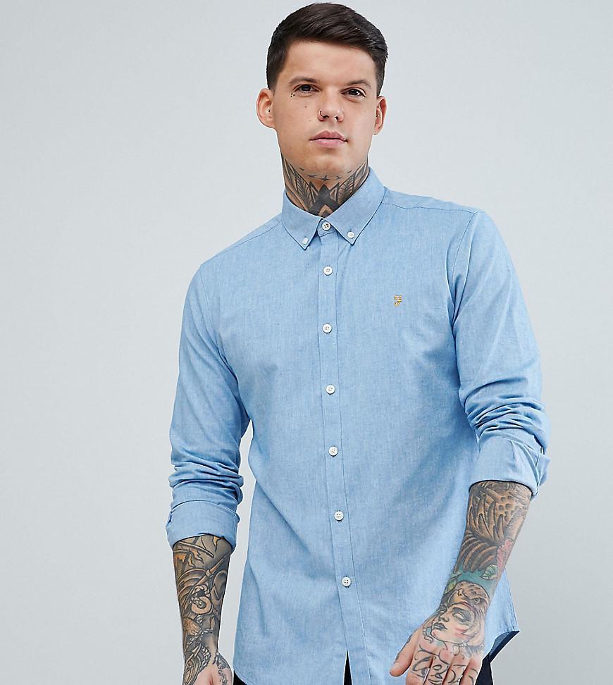 Farah. Men's Steen Slim Fit Textured Oxford Shirt In Blue