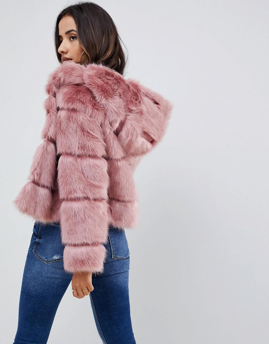 Fur Asos Lyst Design in Coat Hooded Pink Faux B8BIAdq