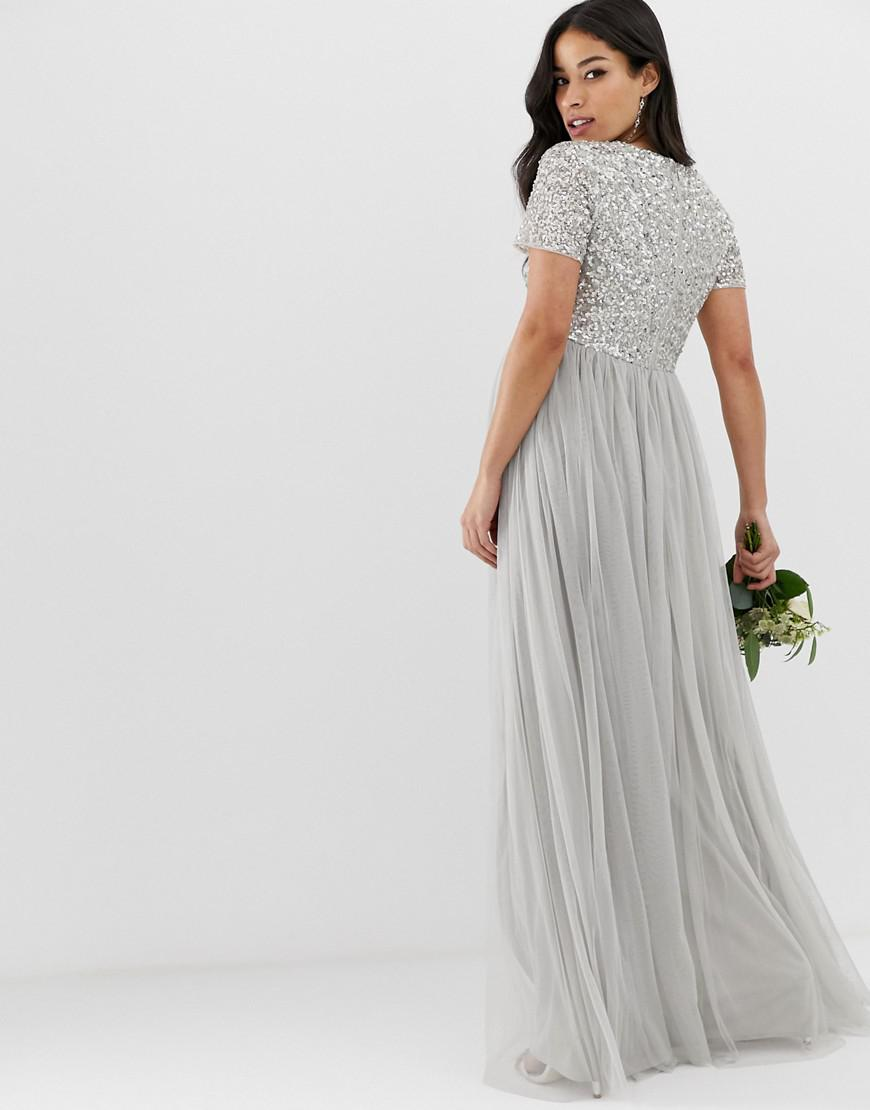 d2fdce1117d Maya Maternity Bridesmaid Bardot Maxi Tulle Dress With Tonal Delicate  Sequins In Soft Grey in Gray - Save 6% - Lyst