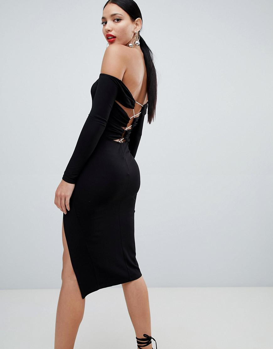 efe0137cb15 ASOS Bardot Strappy Back Bodycon Midi Dress in Black - Lyst