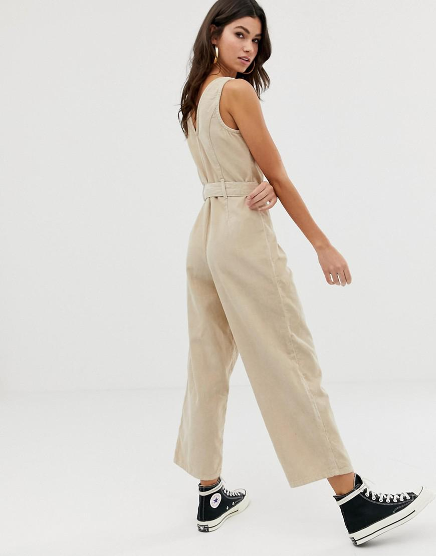 6381efa2015 ASOS Button Through Jumpsuit Cord In Stone in Natural - Lyst