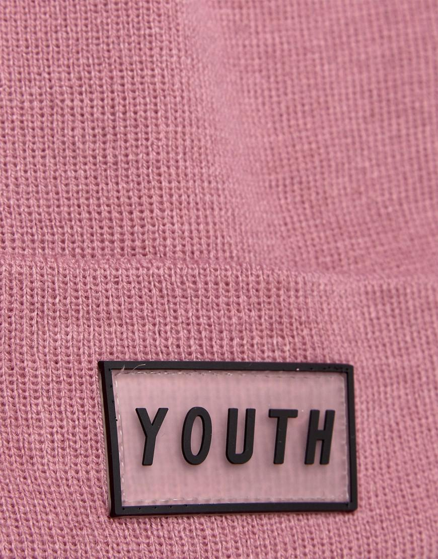 4be19cbc93a Lyst - ASOS Patch Beanie In Pink With Youth Logo Badge in Pink for Men