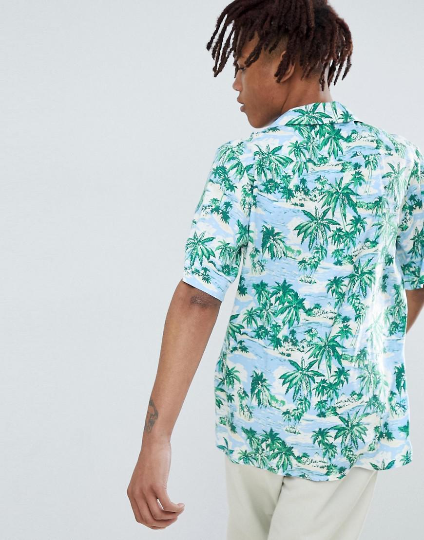 9991fd8b Reclaimed (vintage) Inspired Revere Collar Printed Hawaiian Shirt in Green  for Men - Lyst