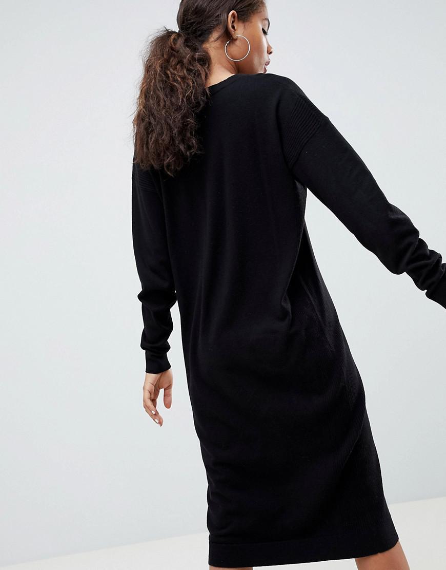 9ef9b3ff08 ASOS Asos Design Tall Sweater Dress In Fine Knit in Black - Lyst