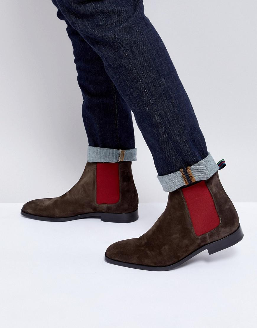 51e005d618d PS by Paul Smith Gerald Suede Chelsea Boot In Dark Brown in Brown ...