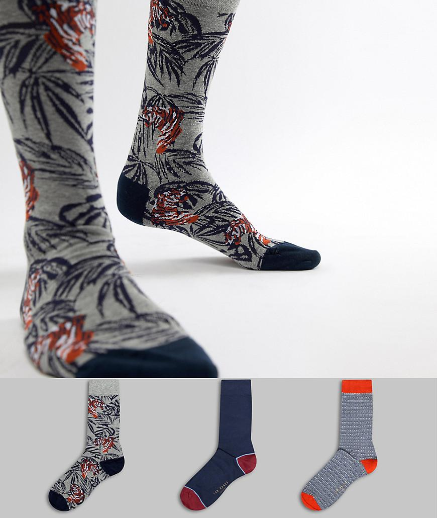 12243432e Ted Baker - Multicolor Socks Gift Set 3 Pack With Tiger for Men - Lyst