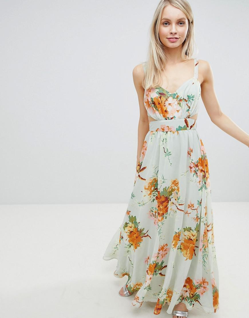 b1046166e3e ASOS Maxi Dress With Side Cut Out In Green Floral Print in Green ...