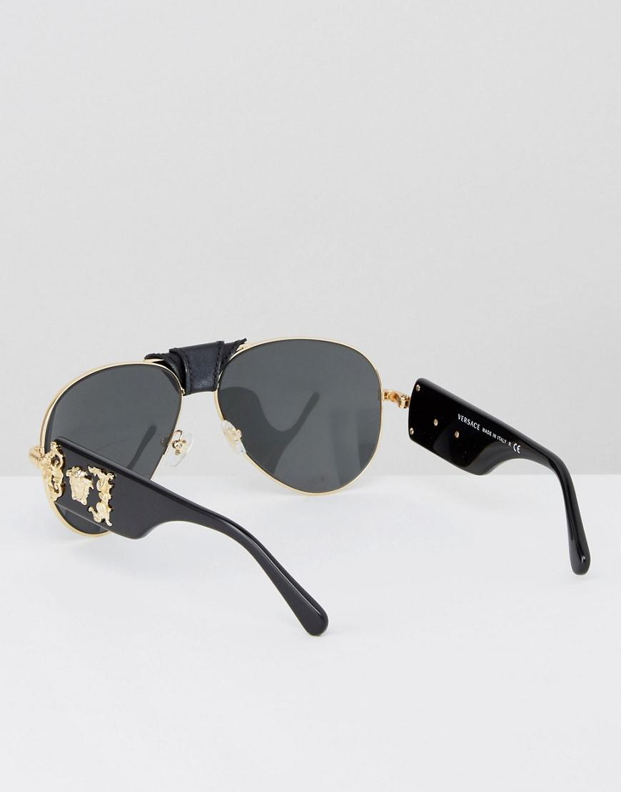 40523a8d70f Lyst - Versace Aviator Sunglasses With Side Medusa in Black for Men