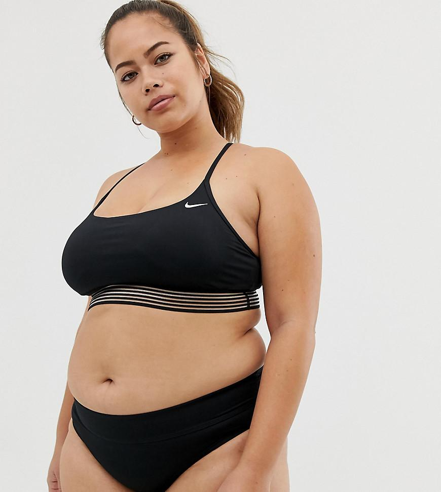 47ec53bb80 Nike Curve Cross Back Crop Bikini Top In Black in Black - Lyst