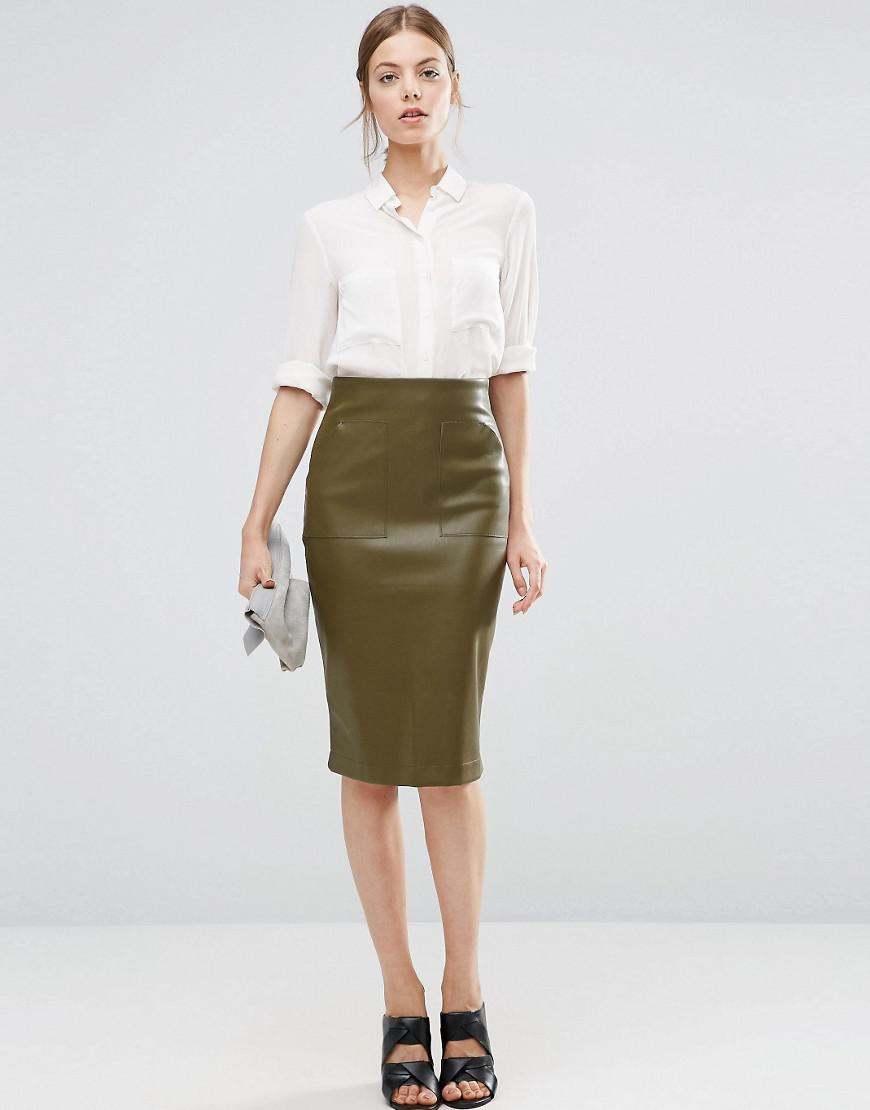 4577c2c0d2 Lyst - ASOS Pu Pencil Skirt With Pocket Detail in Green