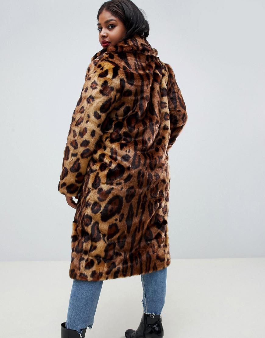 8b178bcc595 Lyst - ASOS Asos Design Curve Maxi Faux Fur Coat In Leopard in Brown