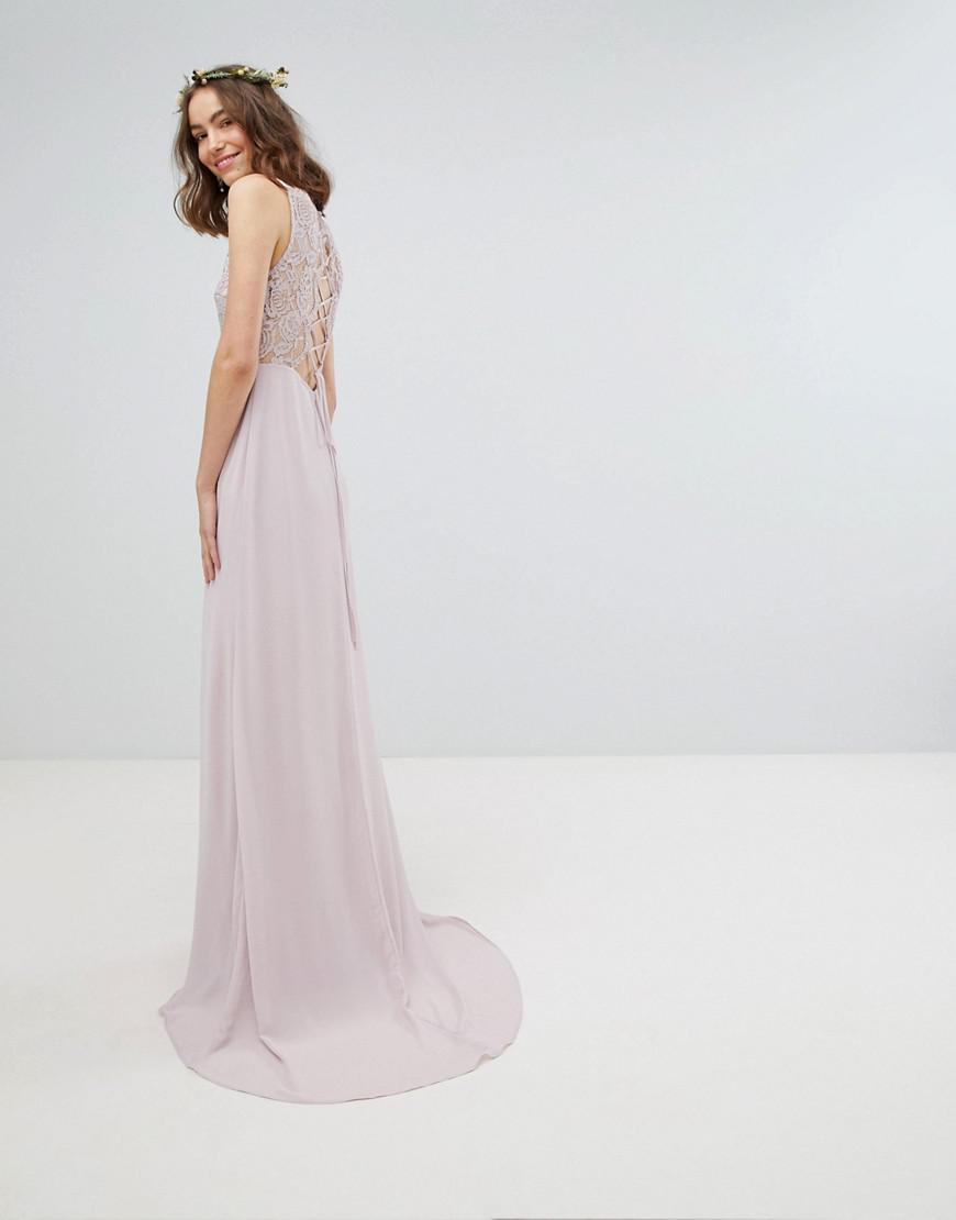 e380e08eb3d3 TFNC London Lace Up Back Maxi Bridesmaid Dress With Lace Long Sleeves in  Brown - Lyst
