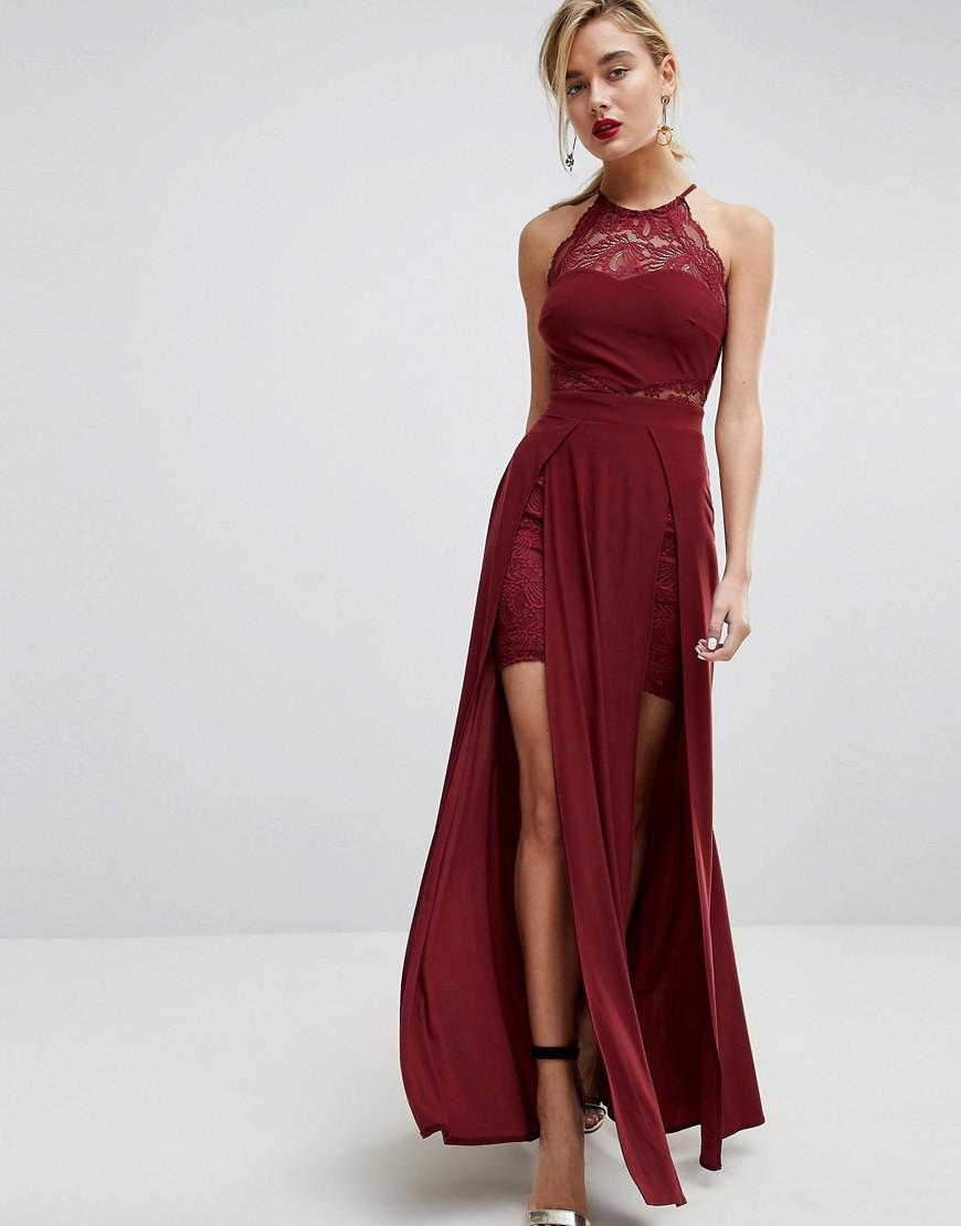 Lyst Asos Lace High Neck Double Split Maxi Dress In Red