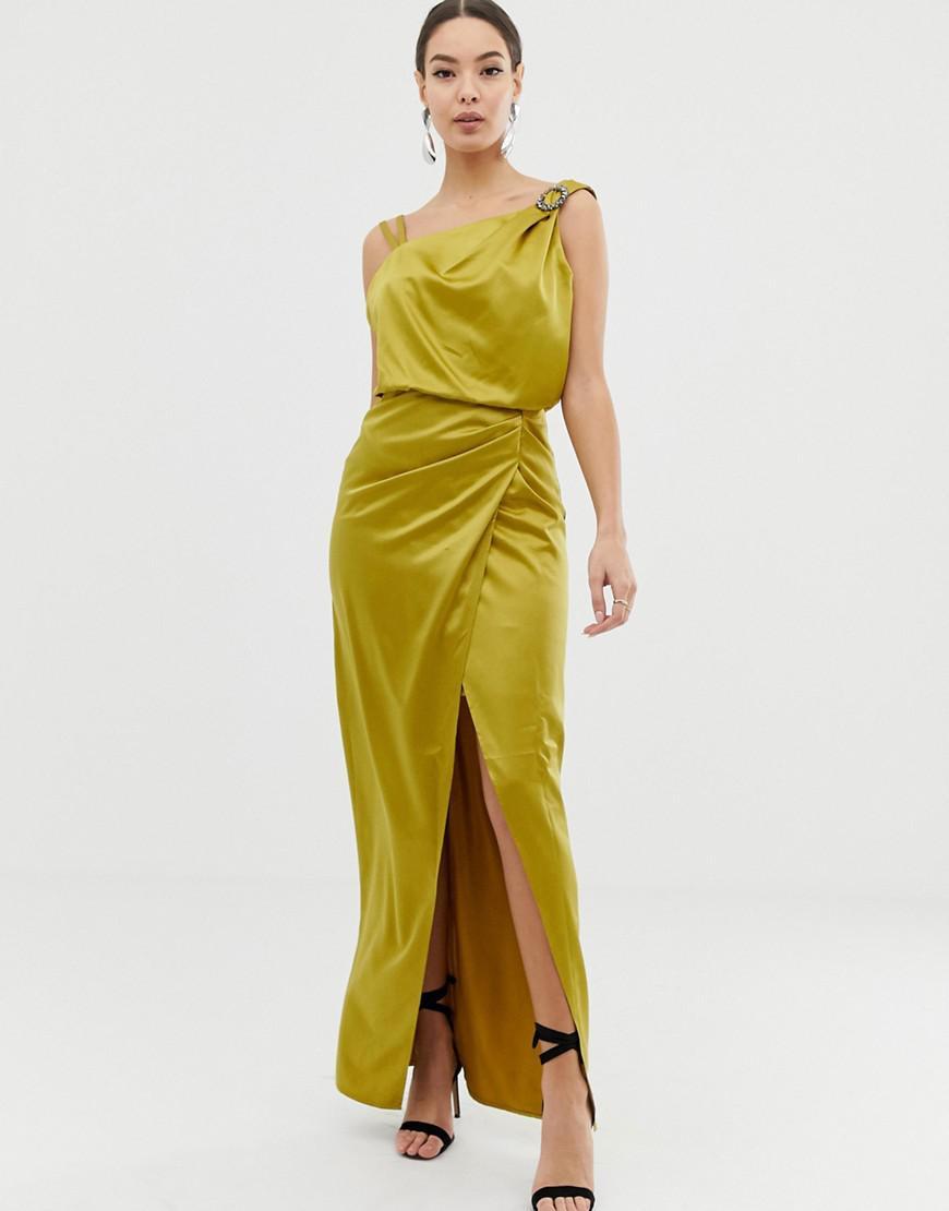 47530de37ab Lyst - Lipsy Satin Drape Dress With Embellishment in Green