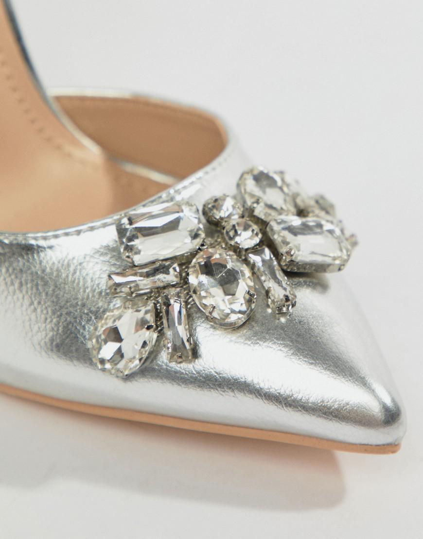 f6fc272aeea True Decadence Silver Embellished Block Heel Shoes in Metallic - Lyst