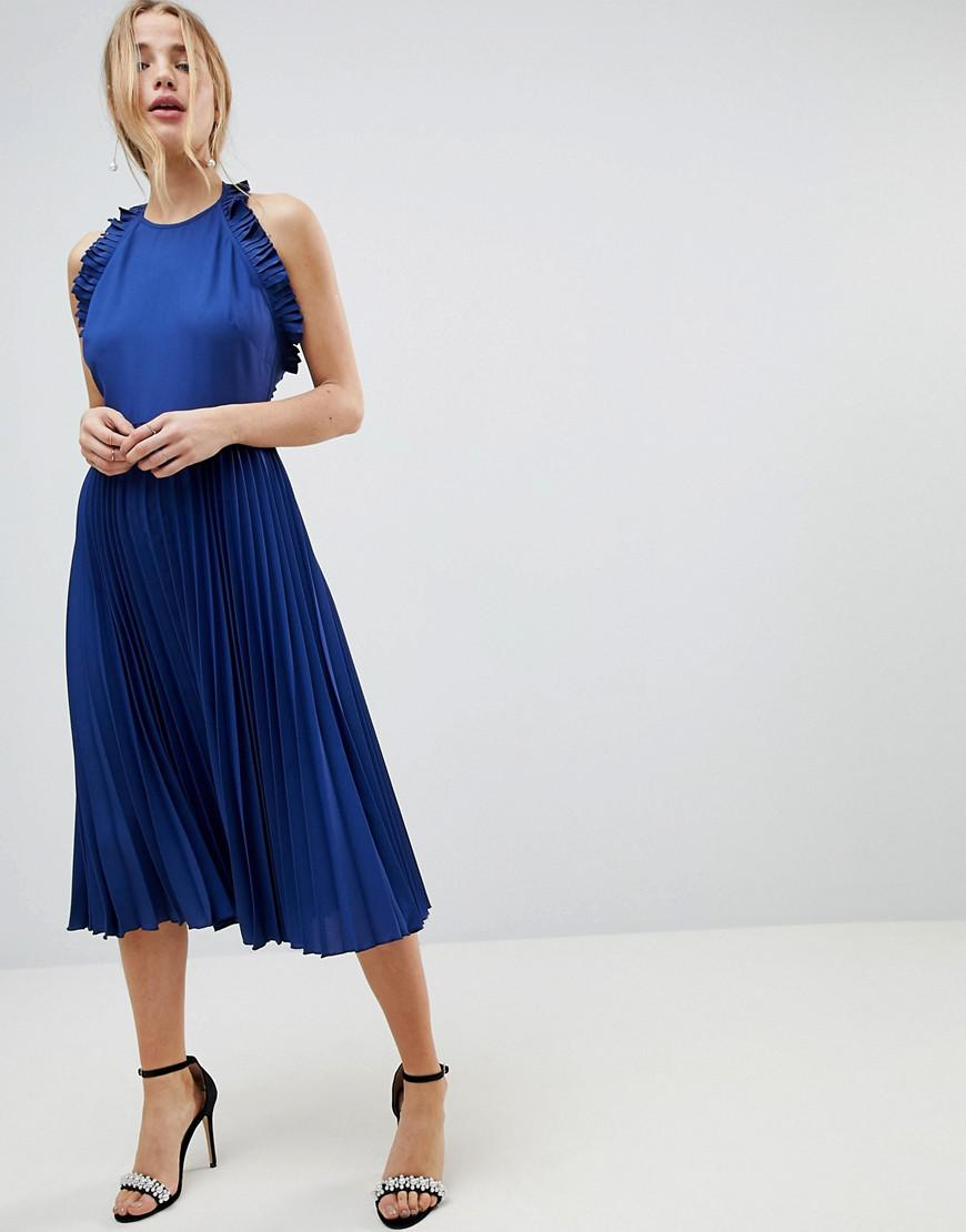 DESIGN Top With Open Tie Back In Satin - Cobalt blue Asos Footlocker Cheap Online Cheap Discount Sale Fashion Style Free Shipping From China Buy Cheap Popular onMzjABpY