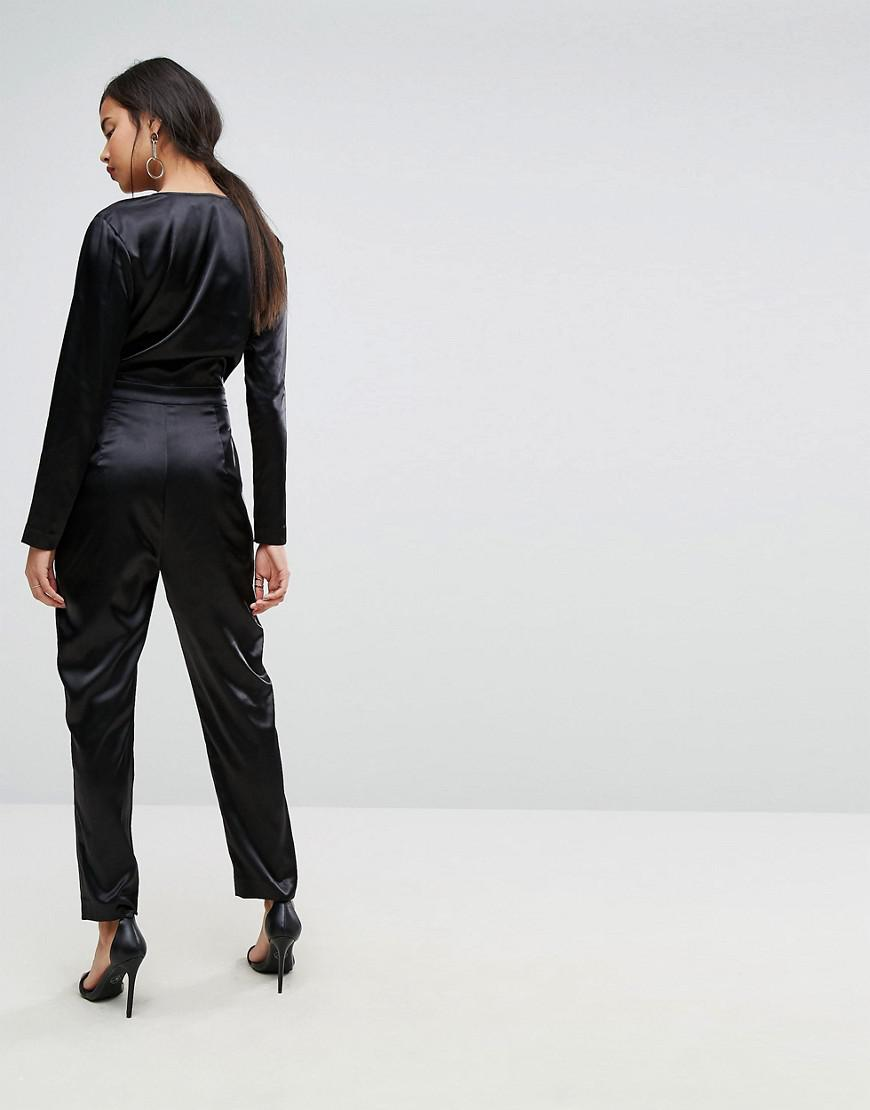 bf5ed5ba7e Ivyrevel Satin Long Sleeved Jumpsuit in Black - Lyst
