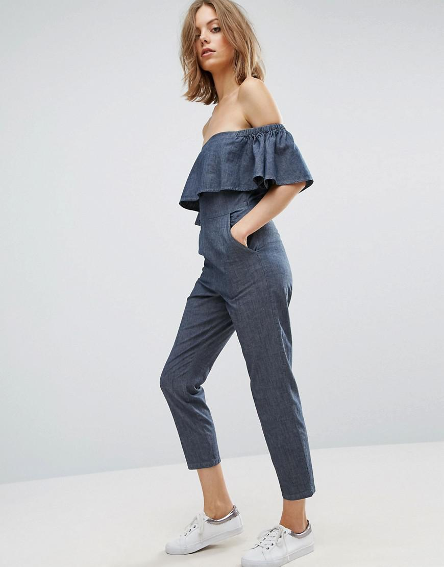 Lyst Asos Denim Off Shoulder Jumpsuit With Ruffle Detail
