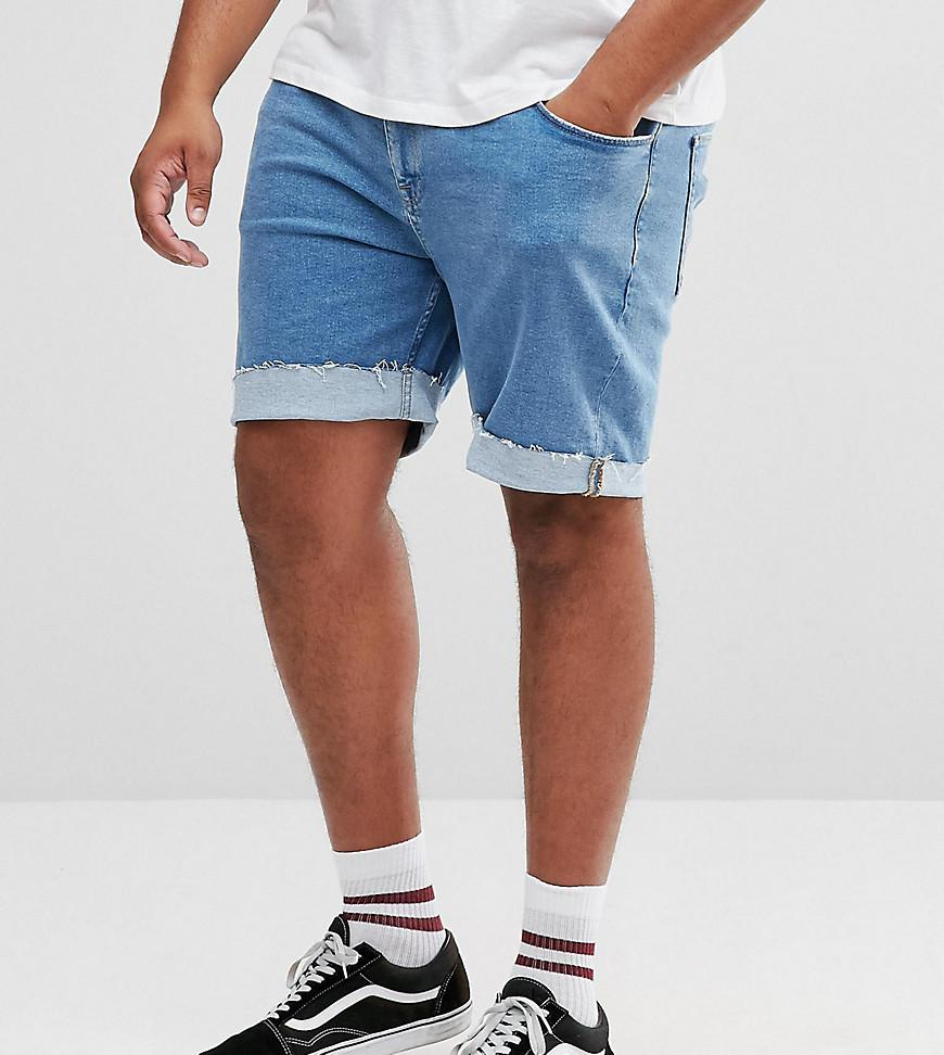 Plus Slim Denim Shorts In Mid Wash Blue With Patches - Mid wash blue Asos Yunreb