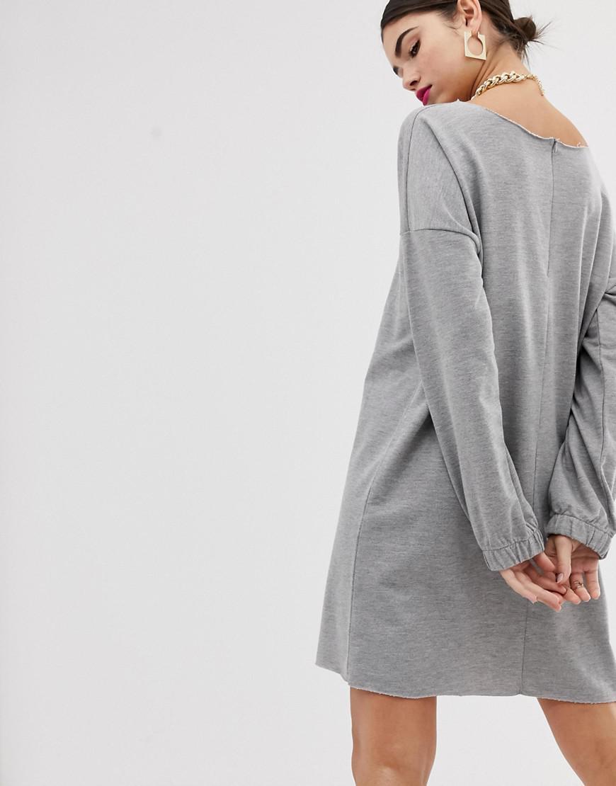 8fe3fe53c3b ASOS Zip Front Raw Edged Sweat Dress in Gray - Lyst