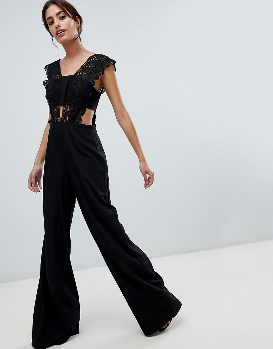a5aff0b7e665 Asos Design Lace Top Jumpsuit With Wide Leg in Black - Lyst