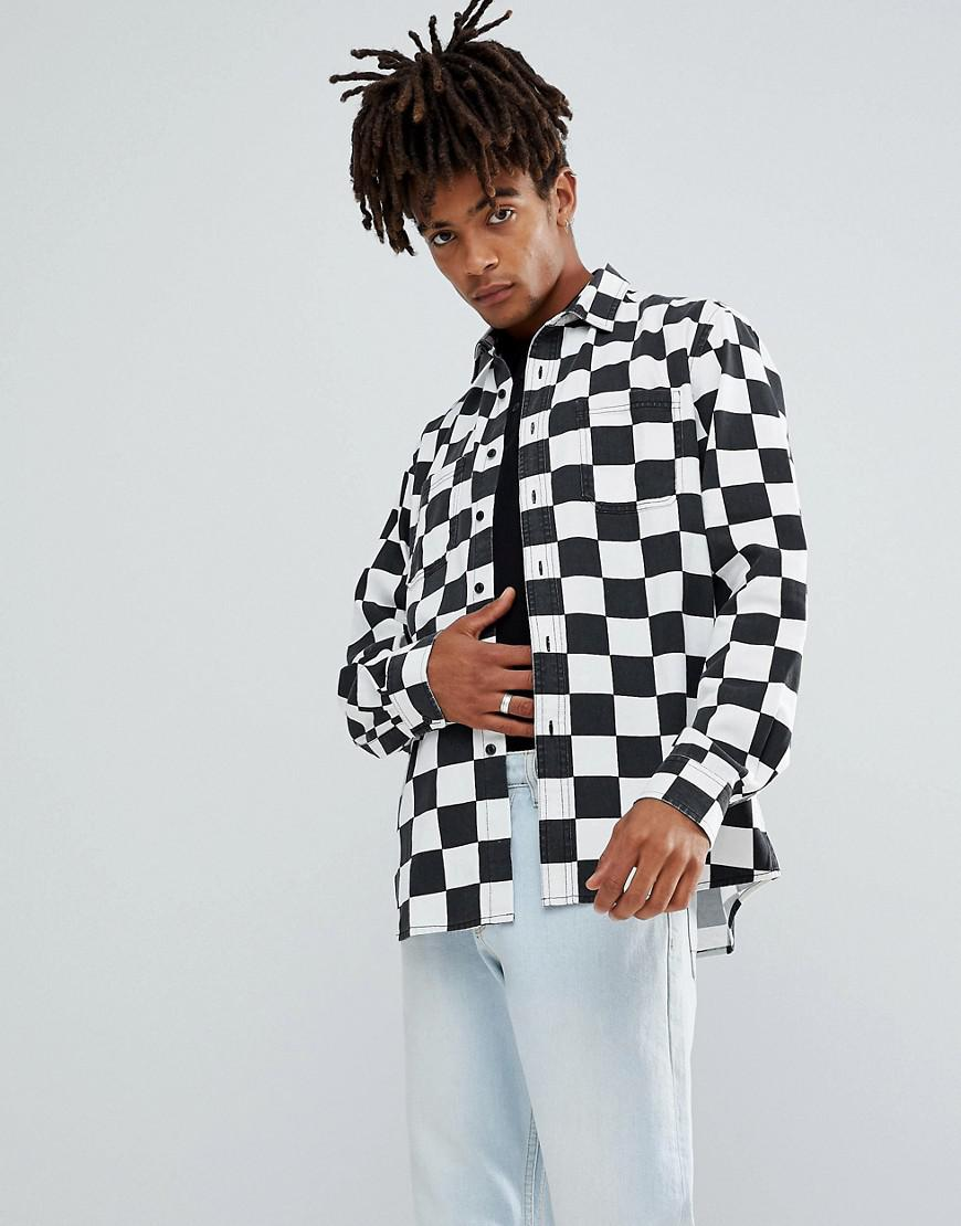 lyst asos overshirt with checkerboard print in black for men