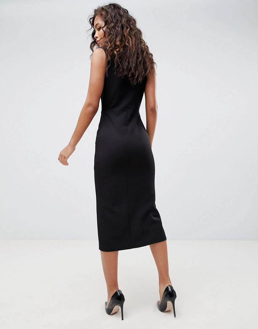 76751814bc Lyst - ASOS Asos Design Tall Midi Tux Dress With Gold Buttons in Black