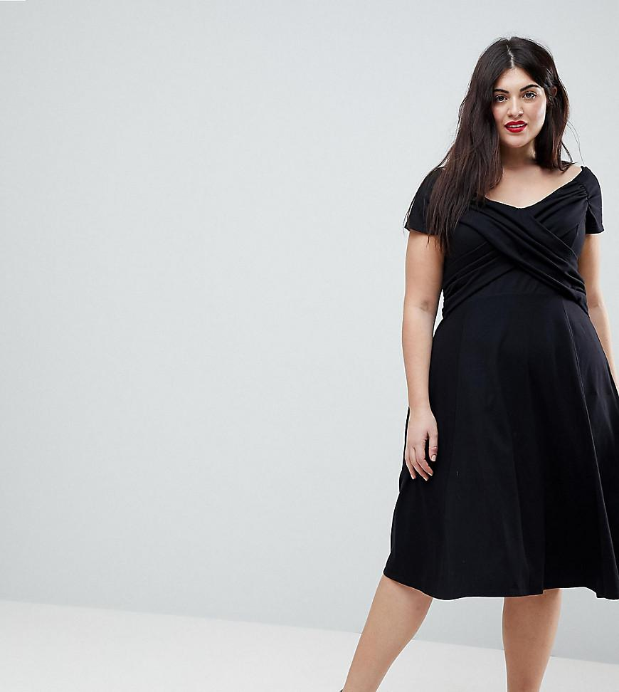 Asos Bardot Midi Skater Dress With Ruched Front in Black ...