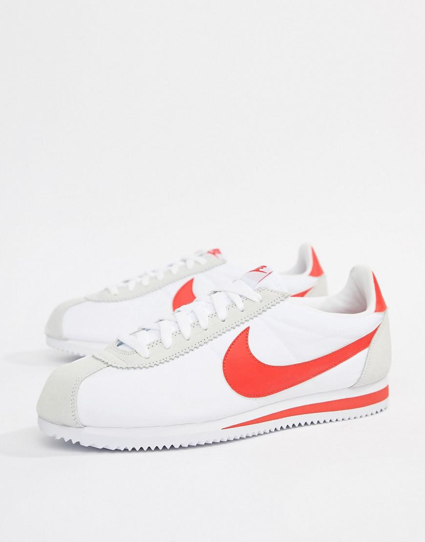 Nike In Classic Cortez Nylon Trainers In Nike Blanco 807472 101 in Blanco for 524f47