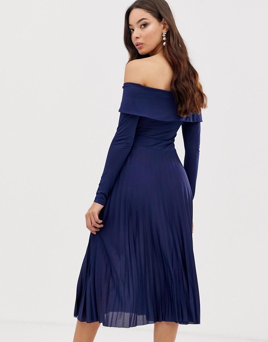 Lyst - ASOS Pleated Bardot Midi Dress in Blue 2dcc22a89