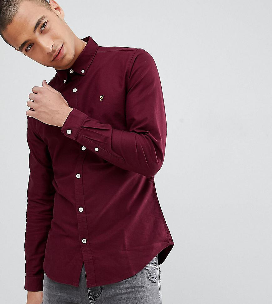 d4517bd470e Lyst - Farah Skinny Fit Button Down Oxford Shirt In Burgundy in Red ...