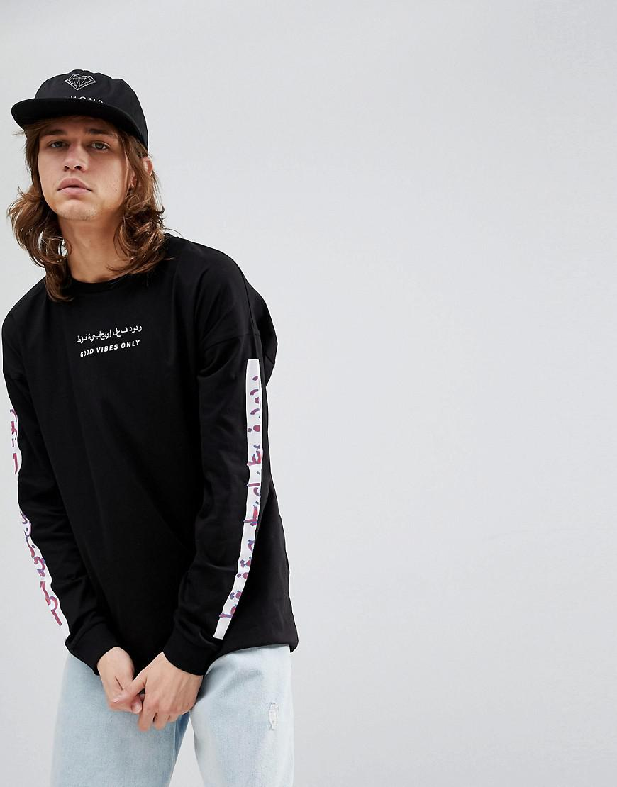 Lyst Asos Design Oversized Long Sleeve T Shirt With Good Vibes