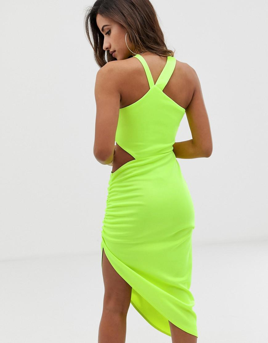 0ec56e77 ASOS Asymmetric Cut Out Midi Dress in Yellow - Lyst