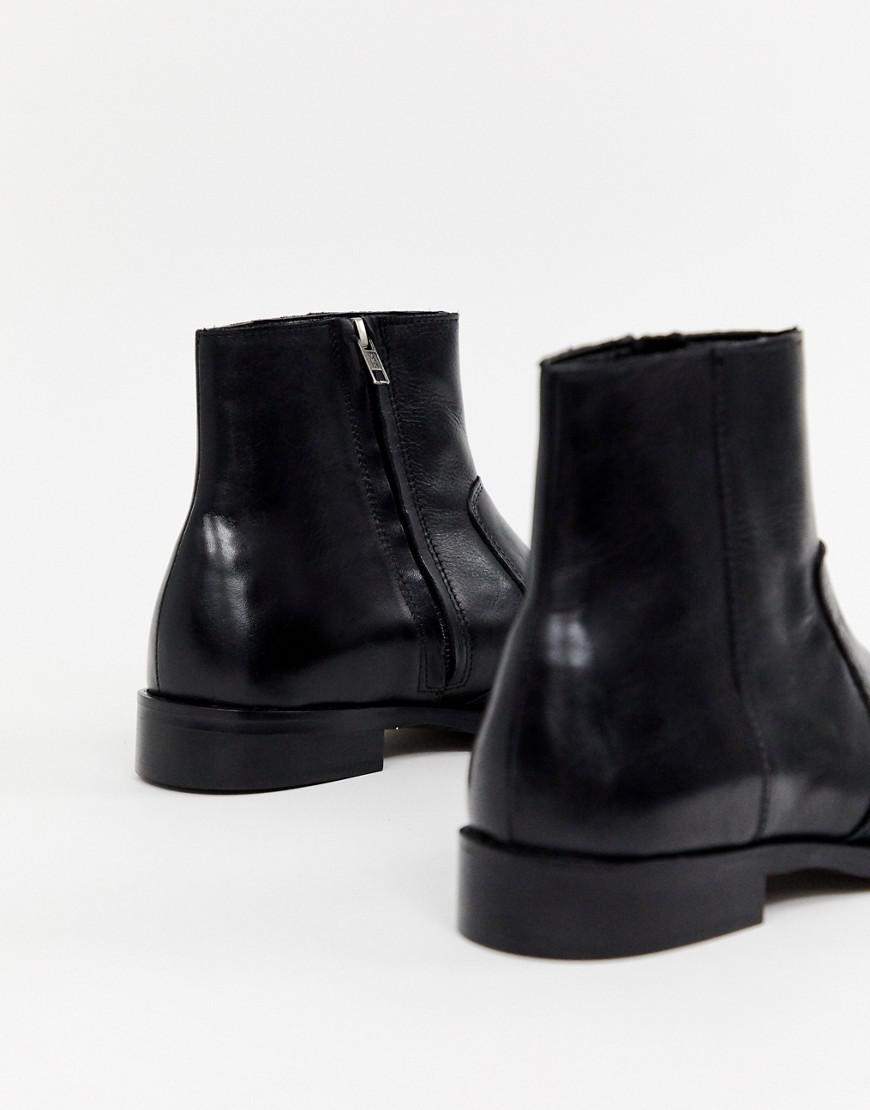 22a292e18727 Asos Cuban Heel Western Chelsea Boots In Black Leather in Black for Men -  Lyst