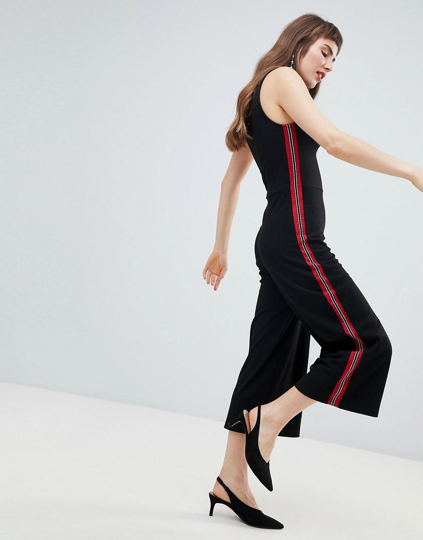 8125b05e8f Lyst - Stradivarius Sidestripe Wide Leg Jumpsuit in Black