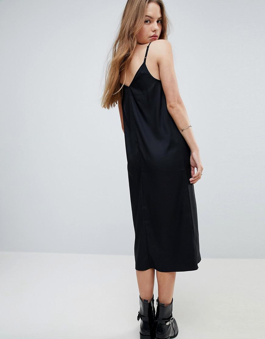 fbef2c1438f Lyst - ASOS Midi Cami Slip Dress in Black