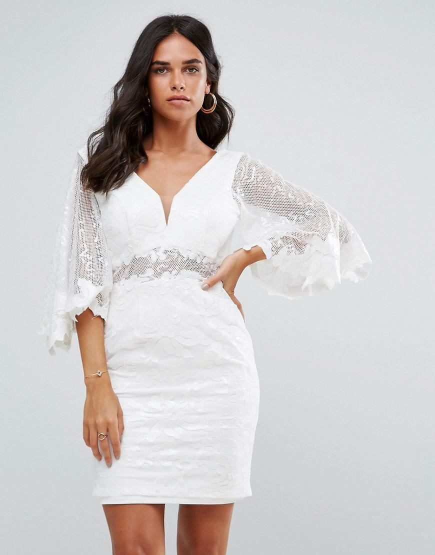 82b868e6aab8 Forever Unique Batwing Lace Mini Dress in White - Lyst