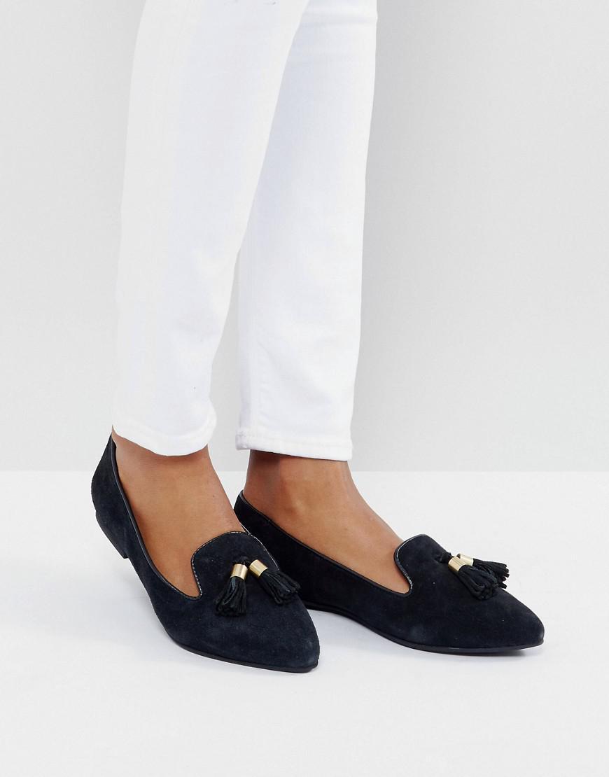 Park Lane Point De Tassle En Daim Chaussures Plates - Daim Noir UdKQVY5y