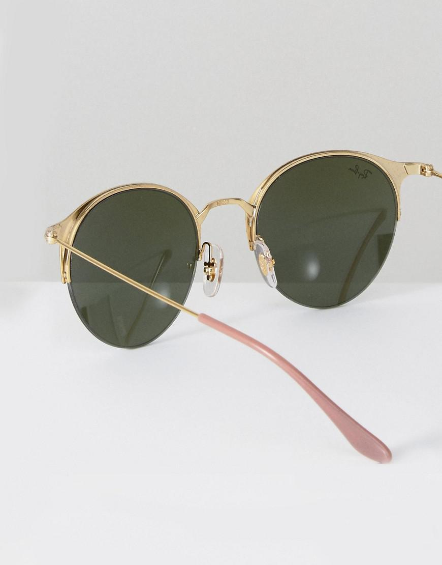 Lyst - Ray-Ban Ray Ban Round Half Frame Sunglasses With Flash Lens ...